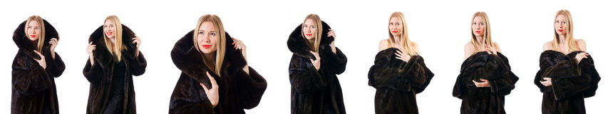 The tall model wearing fur coat Royalty Free Stock Image