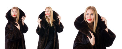 The tall model wearing fur coat Royalty Free Stock Photos