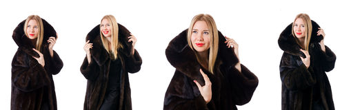 The tall model wearing fur coat Stock Image