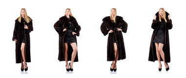 The tall model wearing fur coat Stock Photo