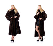 The tall model wearing fur coat Royalty Free Stock Images