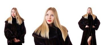 The tall model wearing fur coat Stock Photos