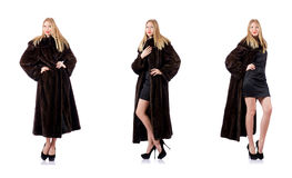 The tall model wearing fur coat Stock Photo