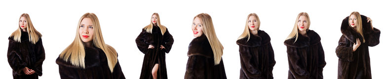 The tall model wearing fur coat Royalty Free Stock Photography