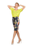 The tall model in yellow blouse isolated on white Stock Images