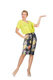 The tall model in yellow blouse isolated on white Royalty Free Stock Photos