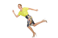 The tall model in yellow blouse isolated on white Stock Photos