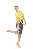 The tall model in yellow blouse isolated on white Stock Photo