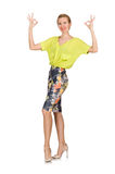 The tall model in yellow blouse isolated on white Royalty Free Stock Image