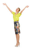 The tall model in yellow blouse isolated on white Royalty Free Stock Photography