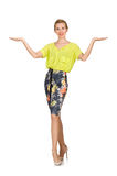 Tall model in yellow blouse isolated on white Stock Photos