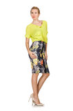 The tall model in yellow blouse Stock Image