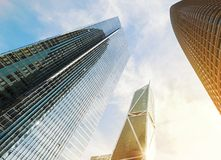 Tall modern skyscrapers on sunny day. View from the ground. Stock Photography