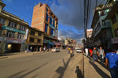 Tall and narrow buildings in Boudhanath, Nepal before the earthq Royalty Free Stock Photos