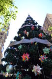 Tall Outdoor Christmas Tree With Decoration Royalty Free Stock Photography