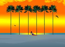 Tall palm trees and a sunbather on a white sand beach at sunset is the scene for a tropical vacation spot stock illustration