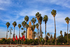 Tall palms and Moroccan flags by minaret Royalty Free Stock Images