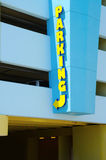 Tall parking lot garage entrance colorful sign Royalty Free Stock Photo