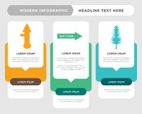 Tall pine tree, next steps, fire hydrant infographic. Tall pine tree business infographic template, the concept is option step with full color icon can be used Stock Images
