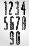 Tall poster headline numbers with halftone lines print texture. Stock Photography