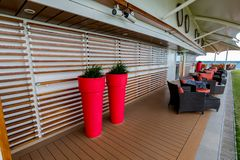 Tall Red Pots Aboard Celebrity Eclipse Cruise royalty free stock photos
