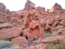 Red Rock Canyon Las Vegas. Tall red rocks off the road Royalty Free Stock Photo