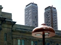 Mushroom Streetlamp and Highrises in Toronto. Tall residential buildings in downtown Toronto with mushroom shaped streetlamp in the foregrowndn Toronto royalty free stock photography