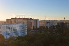 Tall residential buildings at summer evening. During sunset in Perm, Russia Stock Image