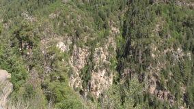 Arizona, Oak Creek Canyon, Tall rock formations and cliffs in Oak Creek Canyon