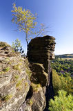 Tall rock structures from where a bird`s eye view of the area is visible Stock Photo