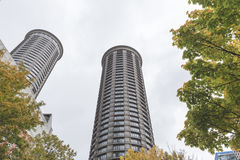 Tall, round buildings in Seattle Stock Images