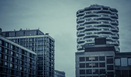 Tall round residential tower Royalty Free Stock Image