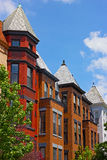 Tall row houses in historic neighborhood of Washington DC, USA. Stock Photography