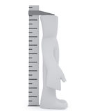 Tall ruler. 3d character stand under tall ruler Royalty Free Illustration