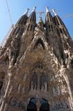Tall Sagrada Familia Church in Spain. Photo of sagrada familia church in barcelona spain designed by architect antonio gaudi. It is still under construction and stock photo