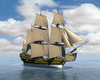 Tall Sailing Sea Ship Illustration Royalty Free Stock Image
