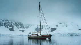 Tall sailing ship in Antarctica stock photo