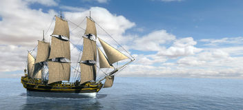 Tall Sailing Ship Banner Panorama Royalty Free Stock Image