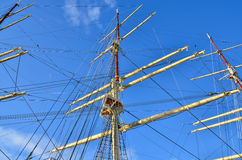 Tall Sailing Ship, Closeup Detail of Mast, Sails royalty free stock photos