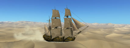 Tall Sailing Ship Desolate Desert Illustration Royalty Free Stock Photo