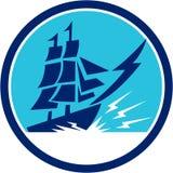 Tall Sailing Ship Lightning Bolt Circle Royalty Free Stock Photography