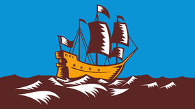Tall Sailing Ship Retro Woodcut Stock Photography