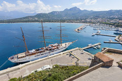Tall sailship in harbor of Calvi Corsica Stock Image