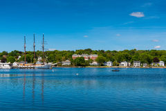 Tall sailship in Mystic Connecticut. Tall sailship at Mystic Seaport, Connecticut, New England, USA Stock Photos