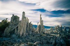Tall salt formations in Mono Lake. Tall salt rock formations stand in Mono Lake in California stock photos