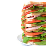 Tall sandwich of ham, tomato & lettuce Royalty Free Stock Photography