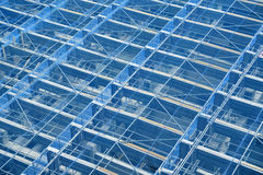 Tall scaffold structure from below. Construction industry background. Stock Photography