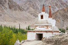 Tall Shanti Stupa in Chemdey gompa, Buddhist monastery, Ladakh,  India Stock Photography