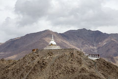 Tall Shanti Stupa in Leh, Ladakh, India Stock Photo