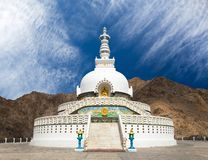Tall Shanti Stupa near Leh - Ladakh - India Stock Photo